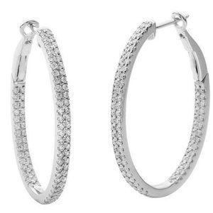 5 ct diamonds white gold Women hoop earrings round
